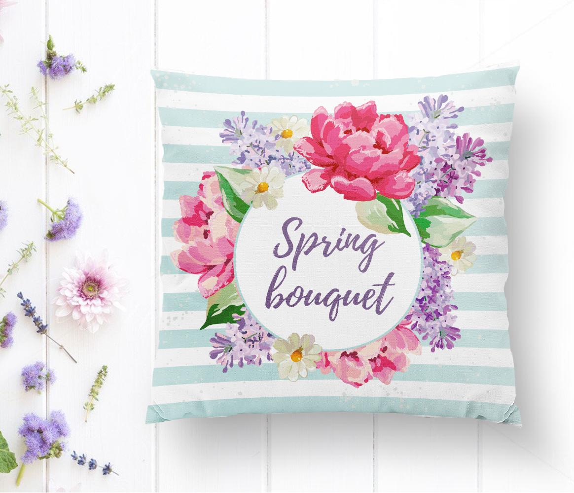 Spring Bouquet Temalı Modern Dijital Baskılı Yastık Kılıfı Realhomes