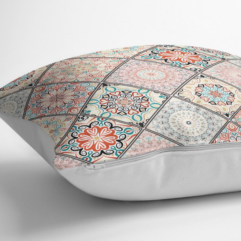 Geometrik Şekilli Hint Desenli Baskılı Dijital Baskılı Yastık Kırlent Kılıfı Realhomes