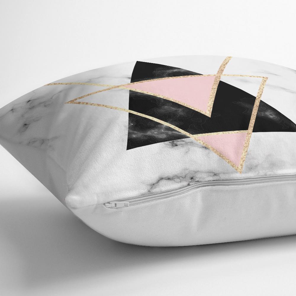 Yaldız Renk Ters Üçgen Desenli Dekoratif Yastık Kırlent Kılıfı Realhomes