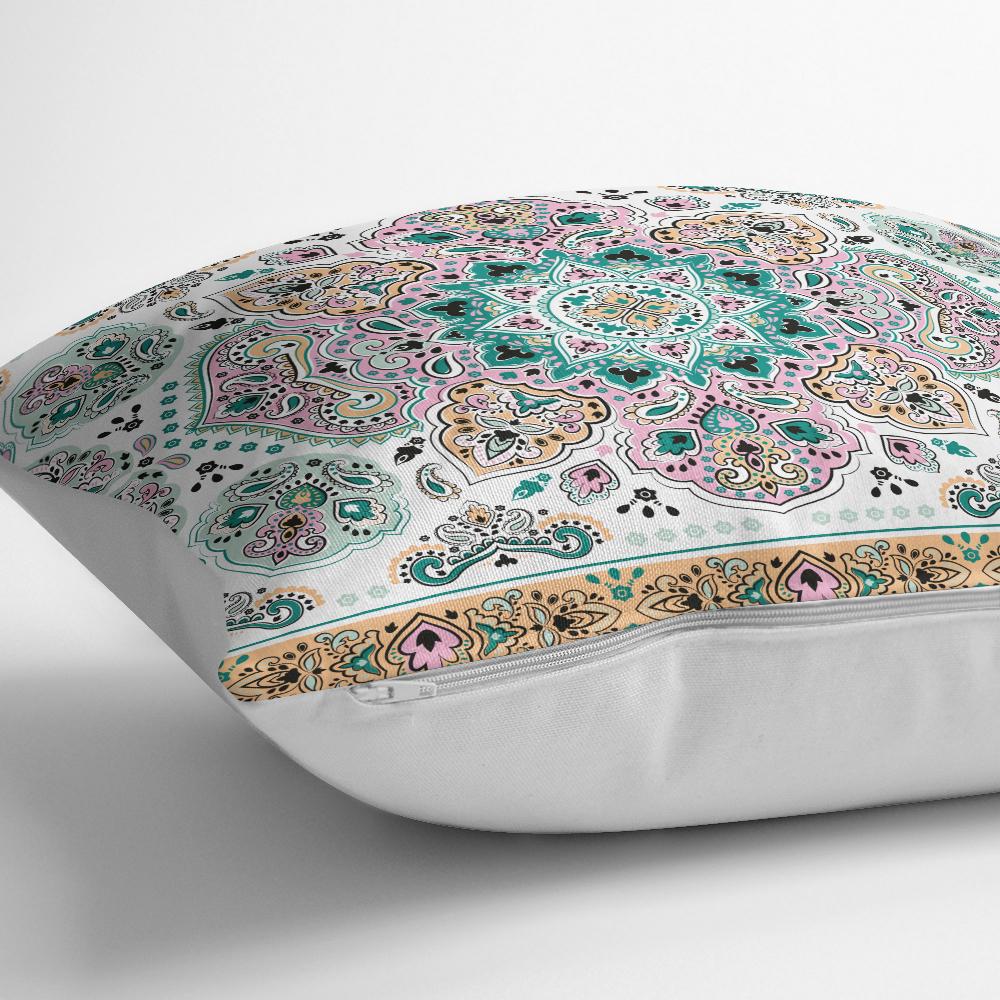 Mint Yeşili Çini Motifli Dekoratif Yastık Kırlent Kılıfı Realhomes
