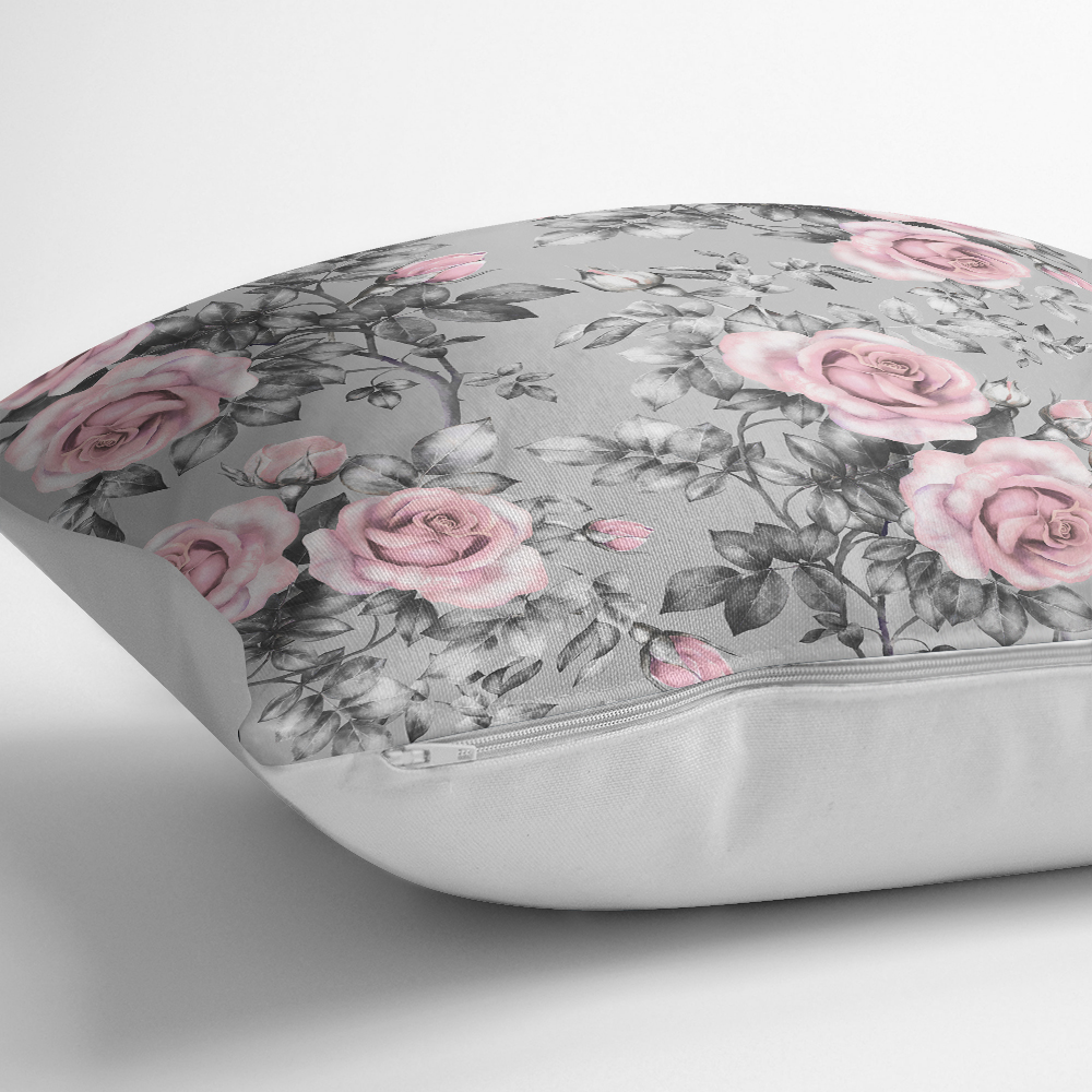 Füme Temalı Kavaniçe Çiçek Motifli Dijital Baskılı Yastık Kırlent Kılıfı Realhomes