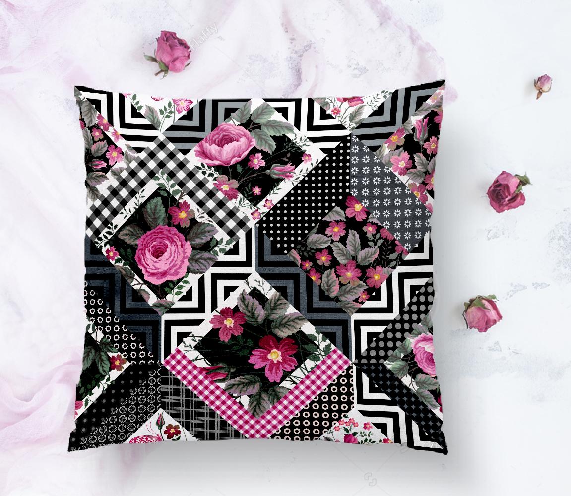 Çiçek Desenli Puan Motifli Yastık Kırlent Kılıfı Realhomes