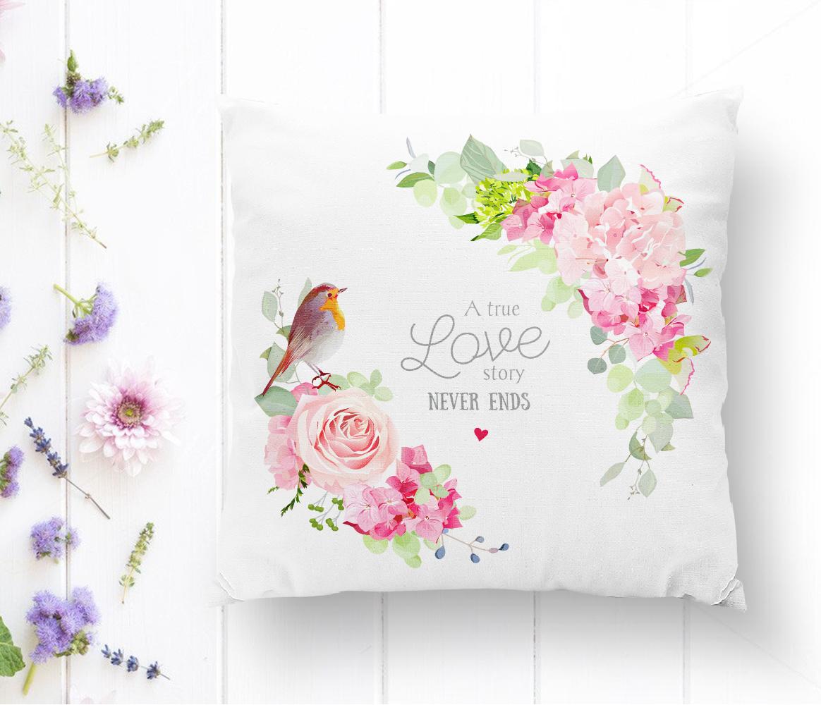 Kuş Motifli A True Love Story Never Ends Renkli Modern Yastık Kırlent Kılıfı Realhomes