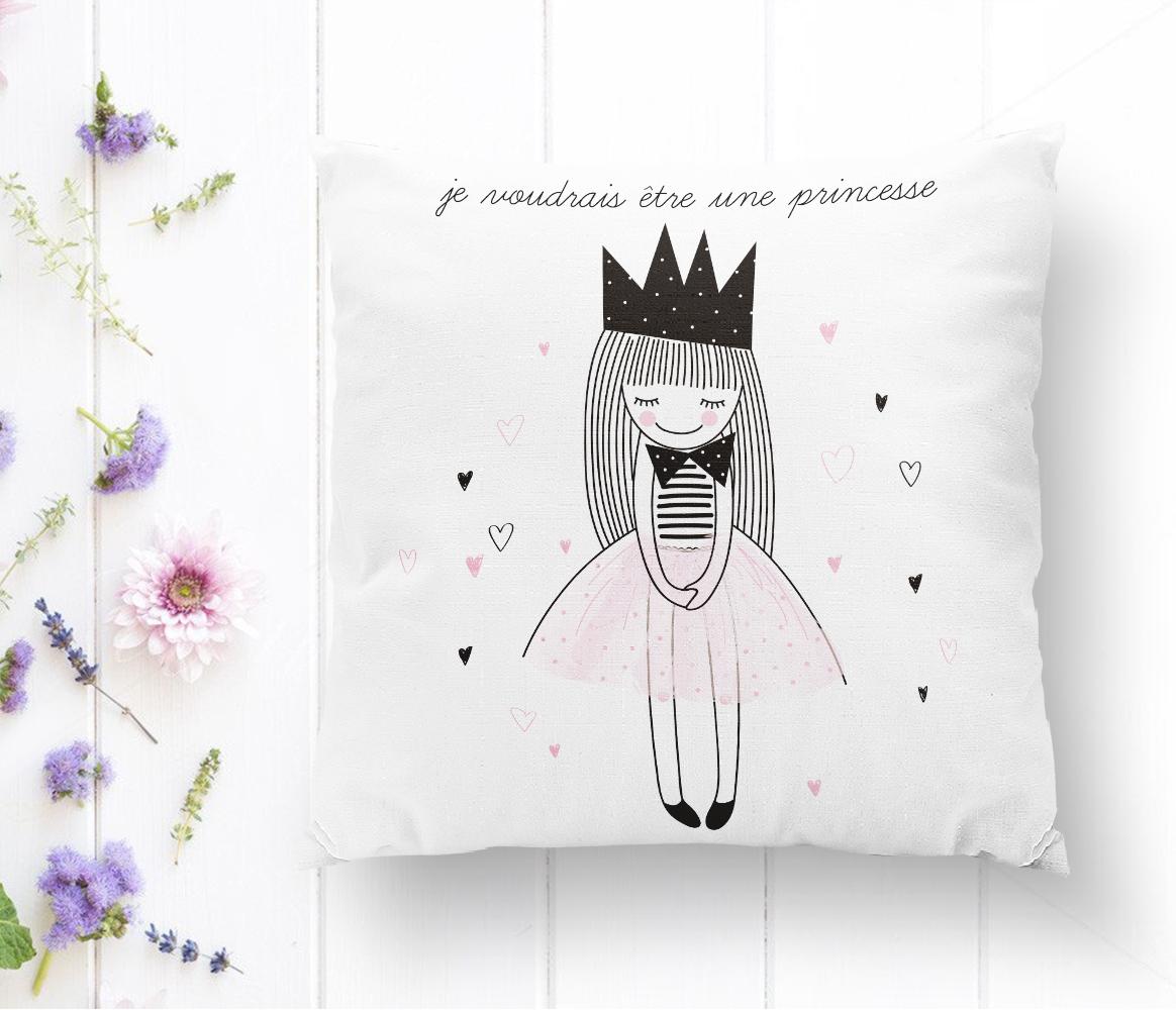 Je Noudrais Etre Une Princesse Baskılı Dekoratif Yastık Kırlent Kılıfı Realhomes