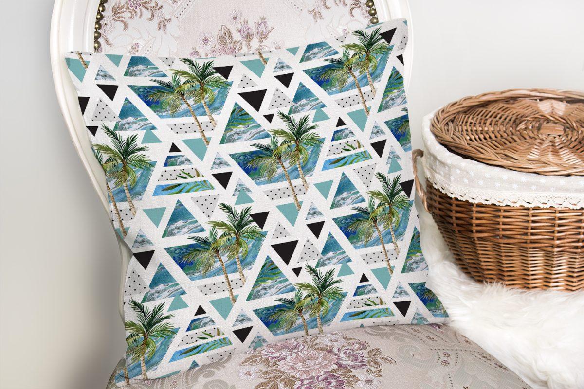 Mavi Geometrik Palmiye Desenleri Dekoratif Yastık Kılıfı Realhomes