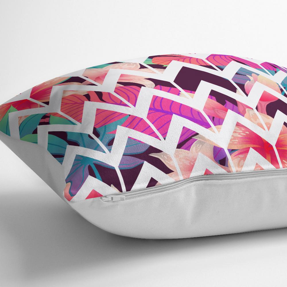 Nilüfer Temalı Zigzag Desenli Dijital Baskılı Yastık Kırlent Kılıfı Realhomes