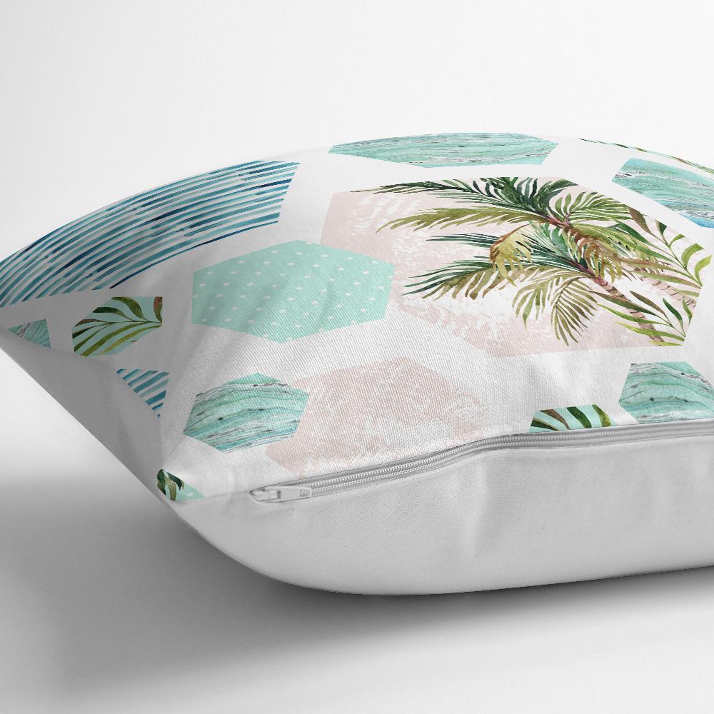 Geometrik Palmiye Desenli Dijital Baskılı Yastık Kırlent Kılıfı Realhomes
