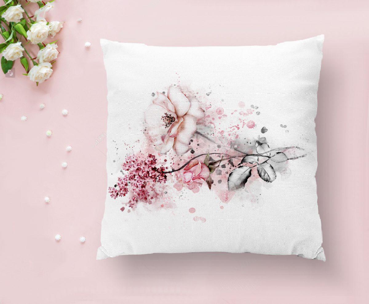 Ogea Çiçek Temalı Yaprak Çizimi Kırlent Kılıfı Realhomes
