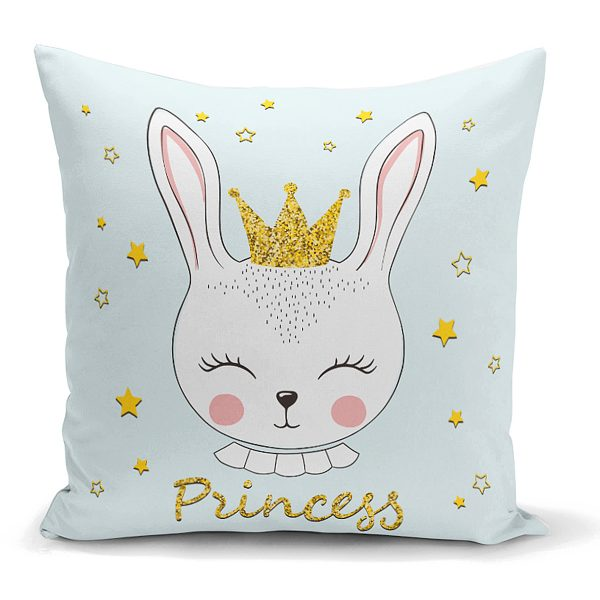 Princess Tavşan Desenli Dekoratif Yastık Kırlent Kılıfı Realhomes