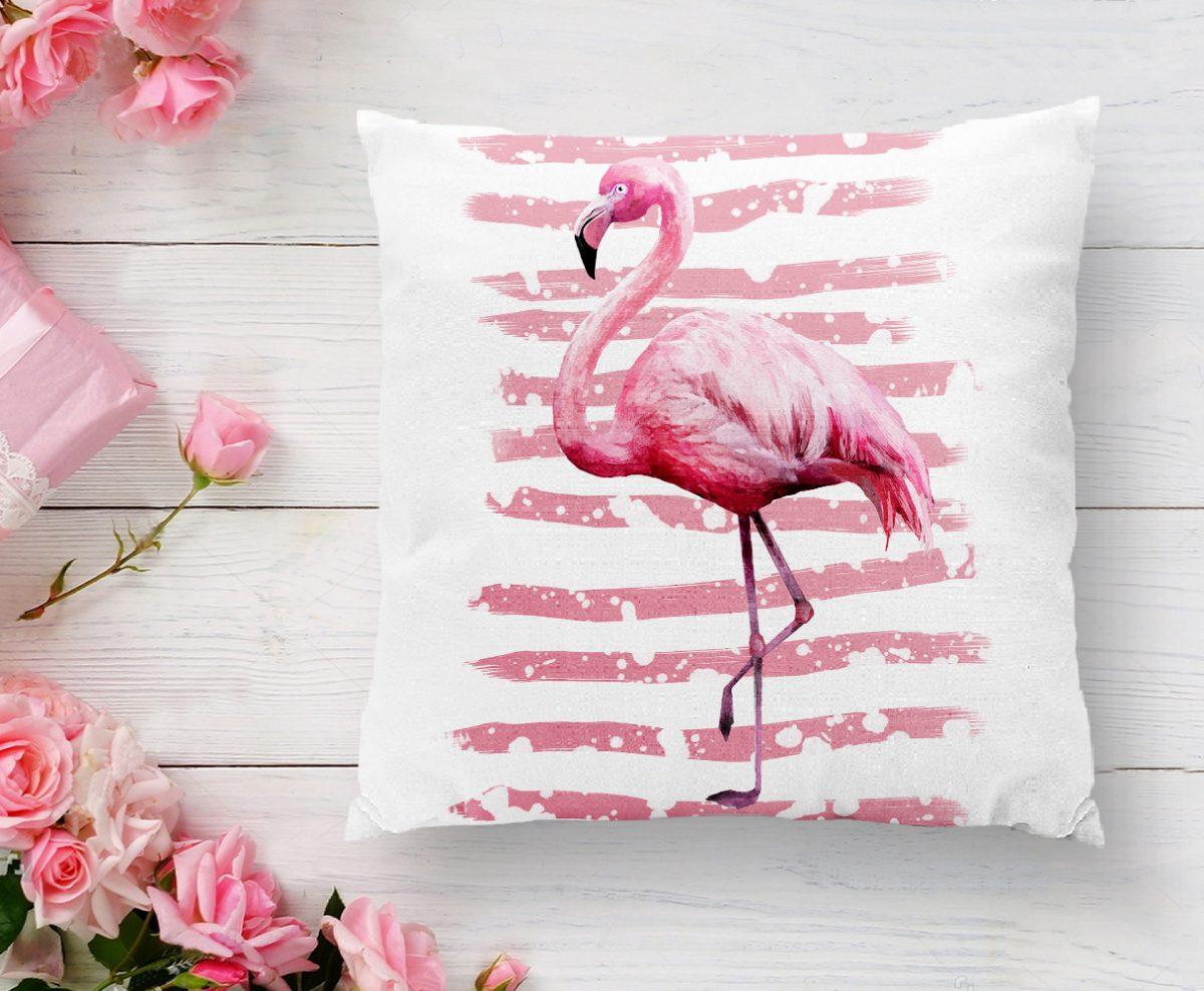 Pudra Çizgi Desenli Flamingo BAskılı Dekoratif Yastık Kırlent Kılıfı Realhomes