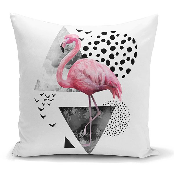Martı Desenli Flamingo Temalı Dijital Baskılı Yastık Kırlent Kılıfı Realhomes