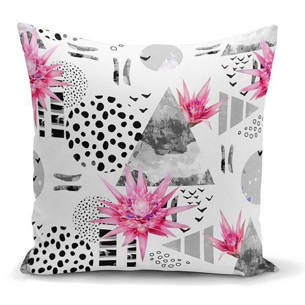 Bal Peteği Temalı Nilüfer Çiçeği Motifli Dekoratif Kırlent Kılıfı Realhomes