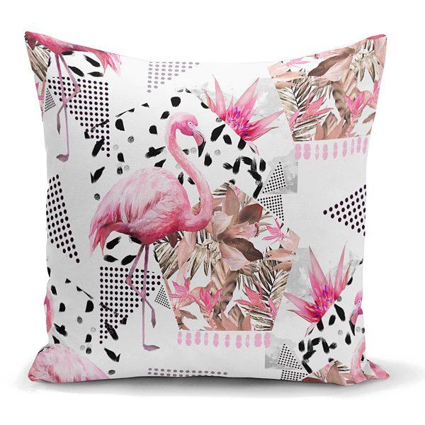 Bal Peteği Temalı Flamingo Motifli Kırlent Kılıfı Realhomes