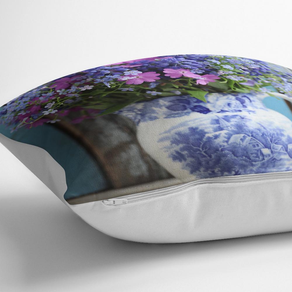 Çift Renkli Vazo Çiçeği Desenli Dekoratif Yastık Kırlent Kılıfı Realhomes