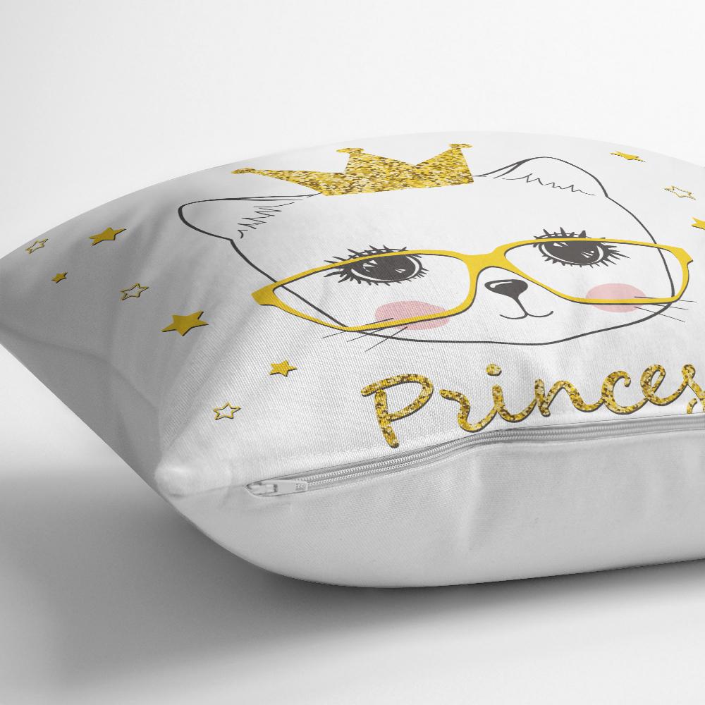 Princess Kedi Motifli Modern Dijital Baskılı Yastık Kılıfı Realhomes