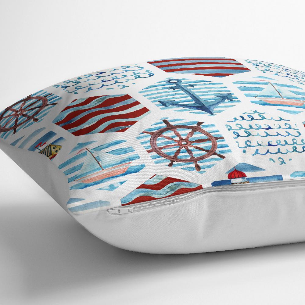 Bordo Mavi Denizci Motifli Dijital Baskılı Yastık Kırlent Kılıfı Realhomes