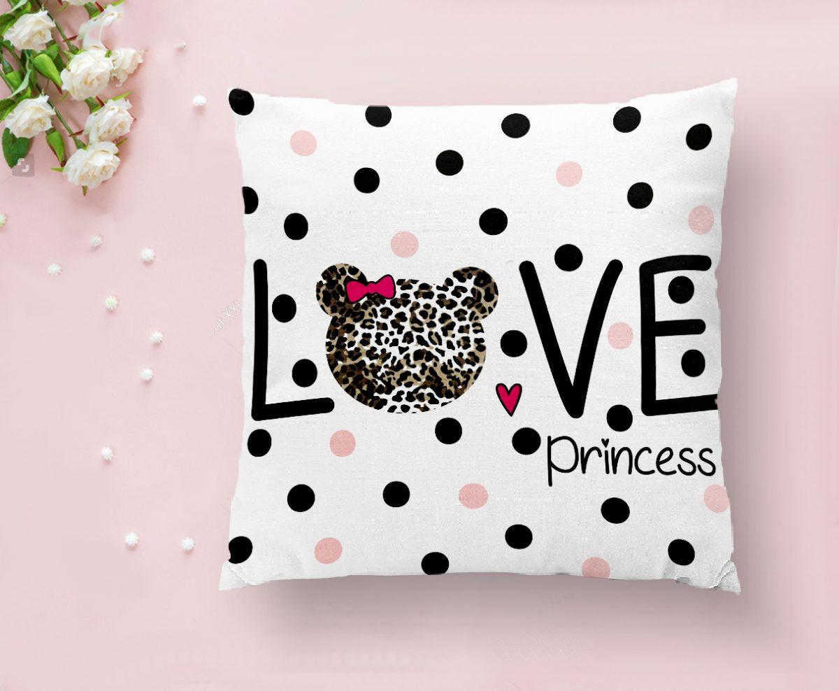 Love Princess Motifli Dijital Baskılı Dekoratif Kırlent Kılıfı Realhomes