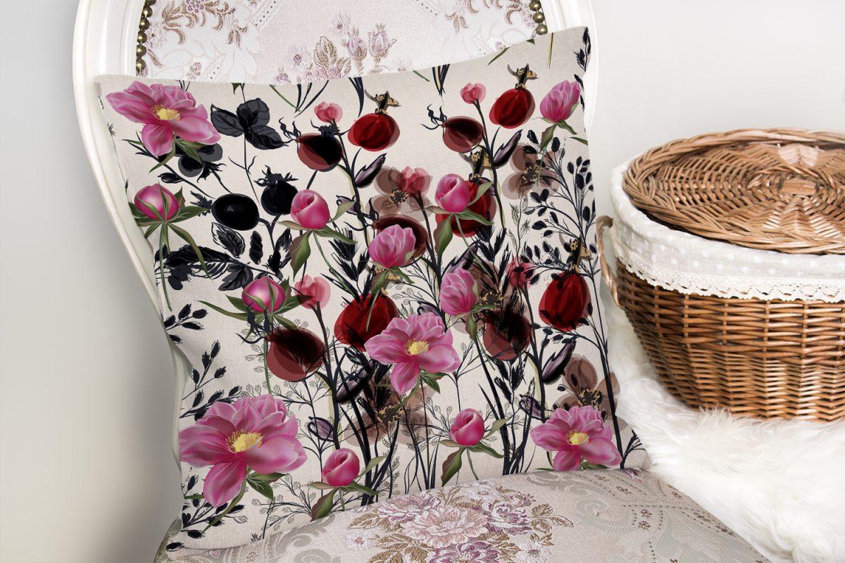 Gelincik Çiçeği Motifli Dijital Baskılı Yastık Kırlent Kılıfı Realhomes