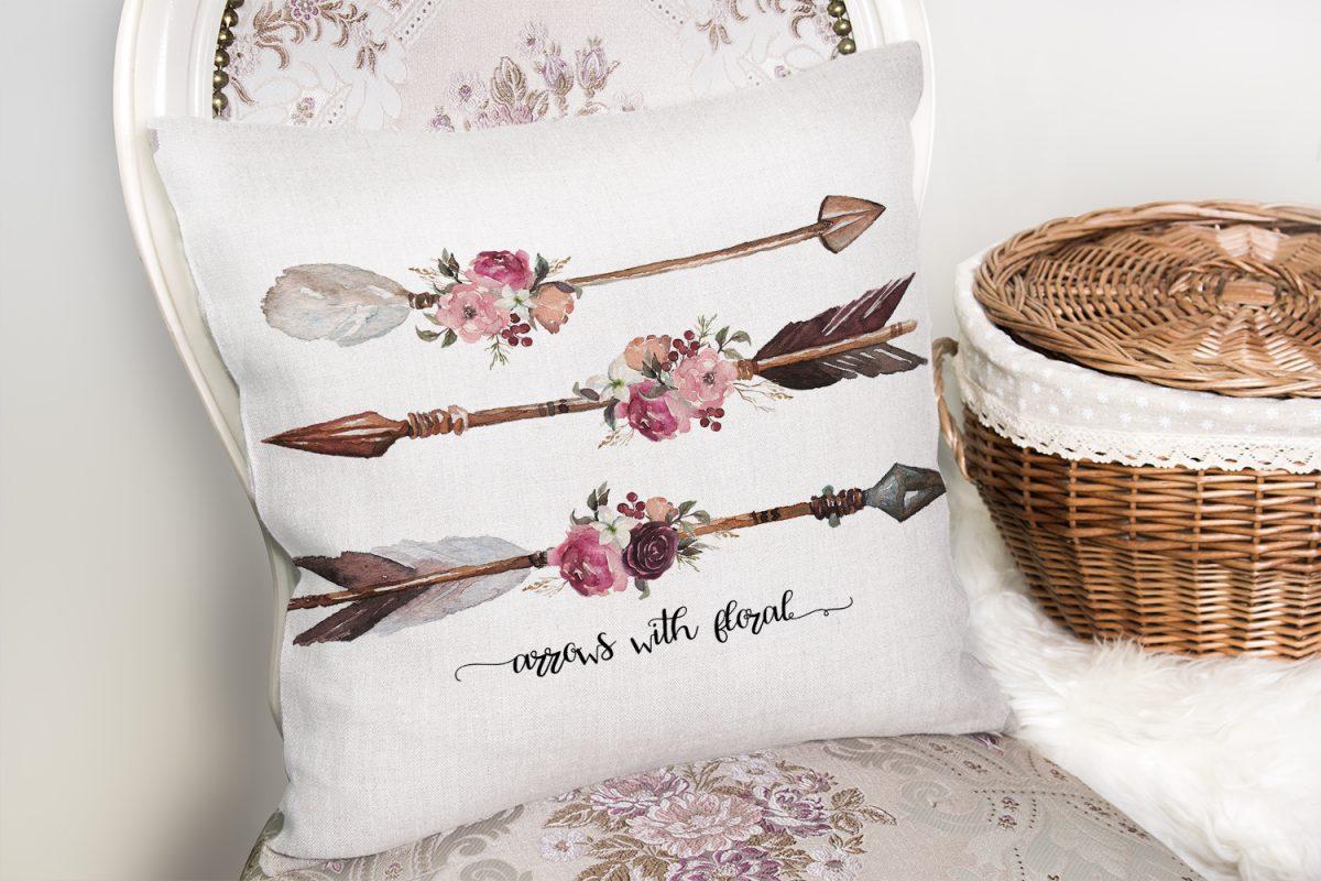 Kahverengi Ok Çizimli Çiçek Desenli Dekoratif Yastık Kırlent Kılıfı Realhomes