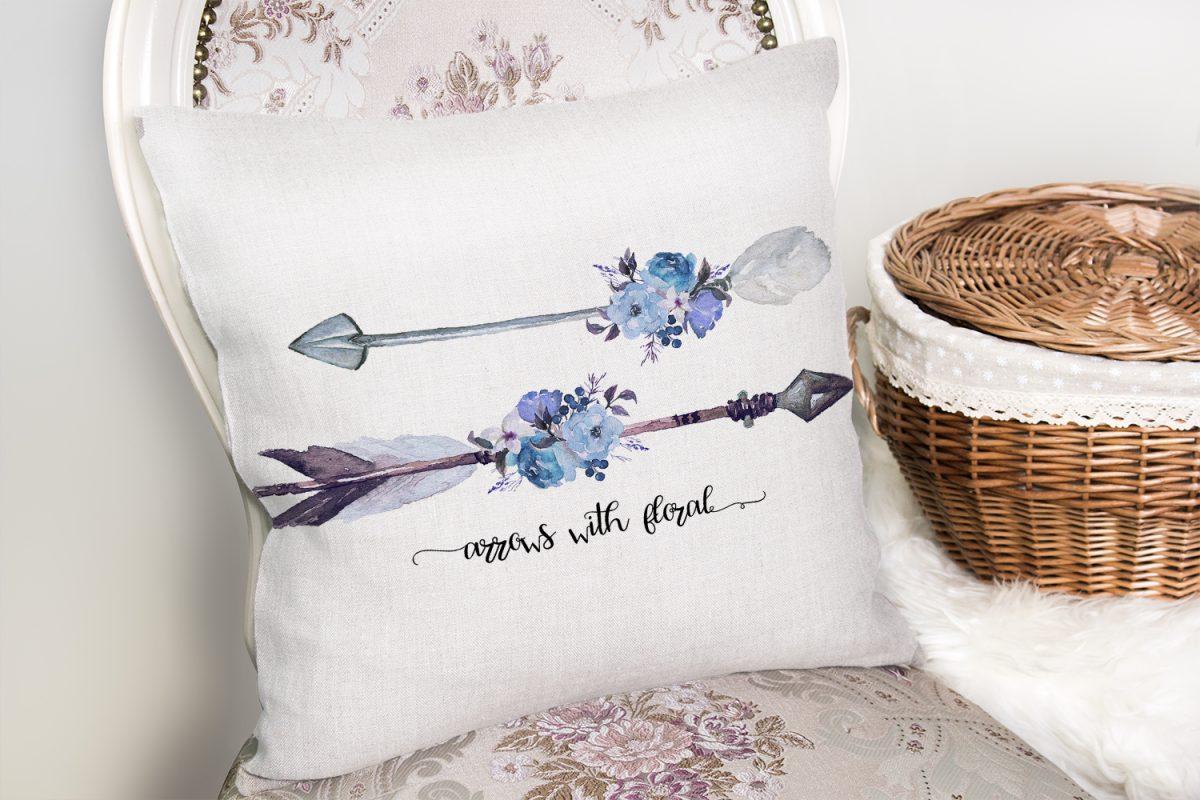 Mavi Ok Çizimli Çiçek Desenli Dekoratif Yastık Kırlent Kılıfı Realhomes