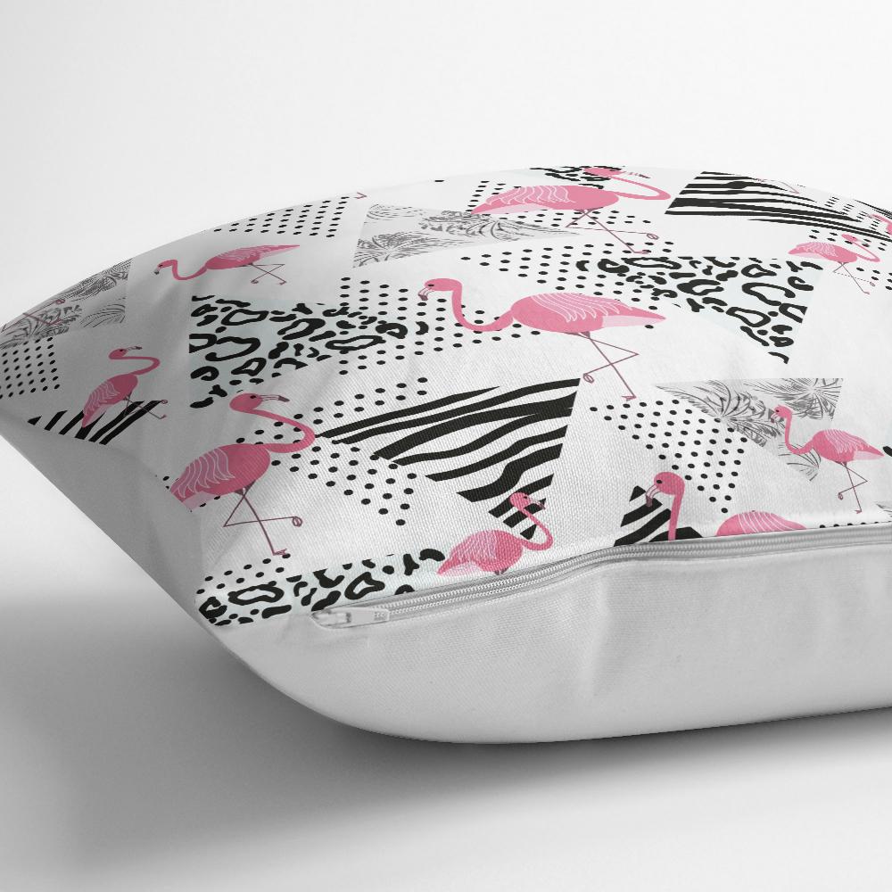 Puanlı Temalı Flamingo Desenli Dijital Baskılı Yastık Kırlent Kılıfı Realhomes