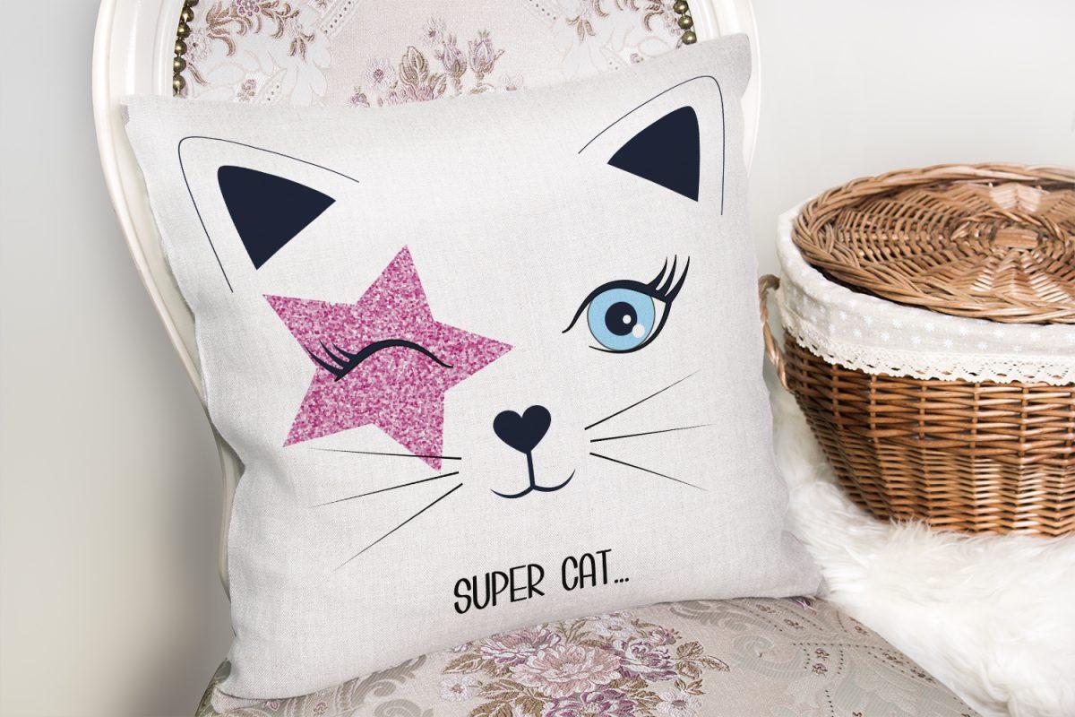 Super Cat Motifli Modern Dijital Baskılı Yastık Kılıfı Realhomes