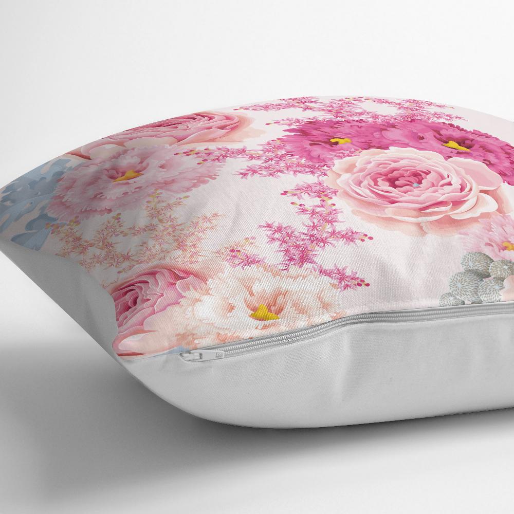 Pudra Çiçekler Temalı Dijital Baskılı Yastık Kırlent Kılıfı Realhomes