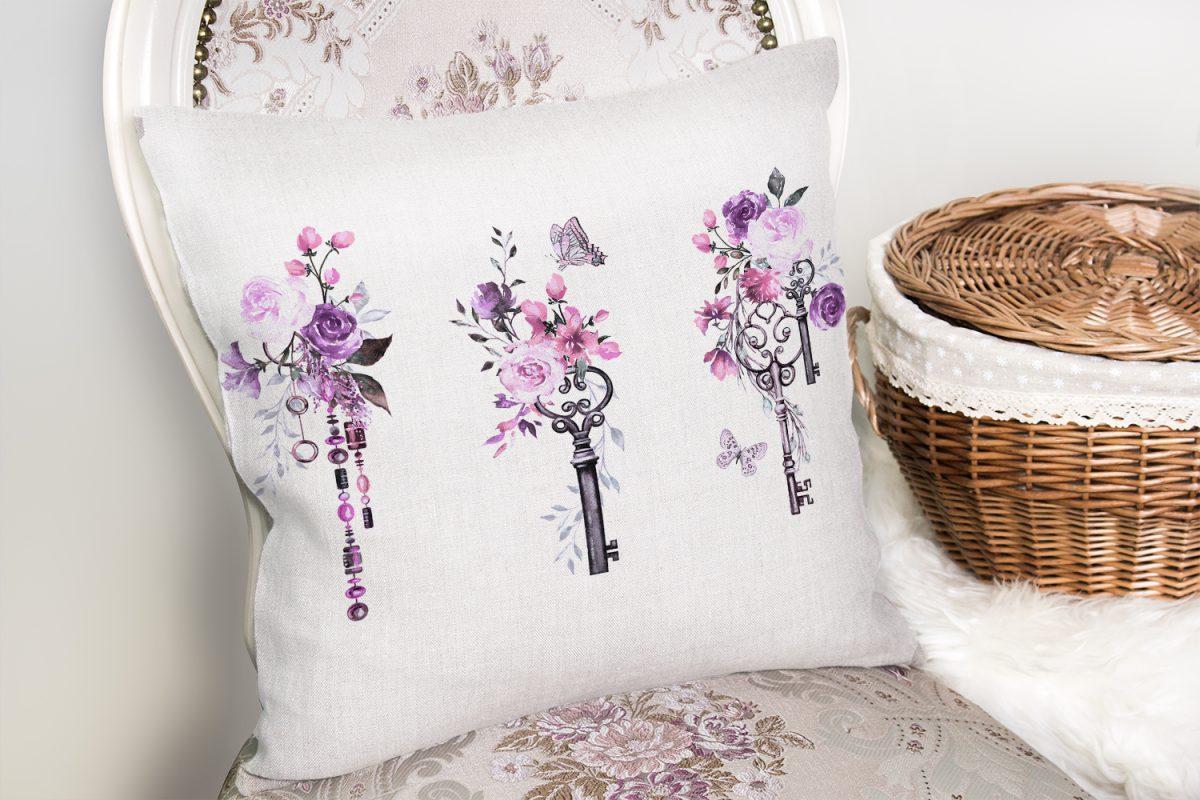 Mor Renk Anahtar Motifli Çiçek Desenli Çizgili Yastık Kırlent Kılıfı Realhomes