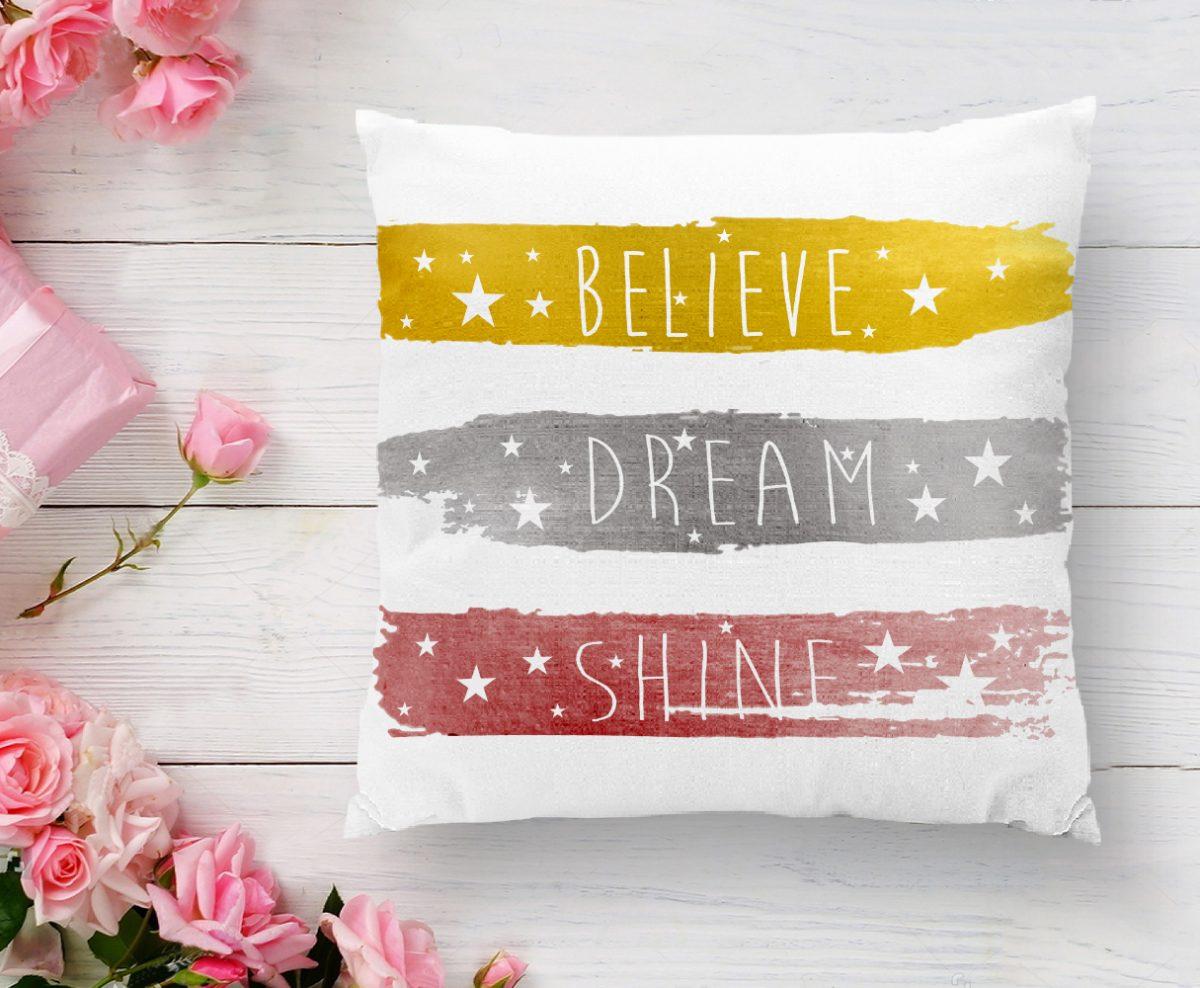 Believe Dream Shine Çizimli Modern Baskılı Yastık Kılıfı Realhomes