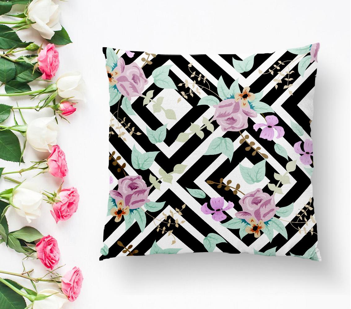 Siyah Beyaz Labirent Temalı Soyut Çiçek Desenli Yastık Kırlent Kılıfı Realhomes