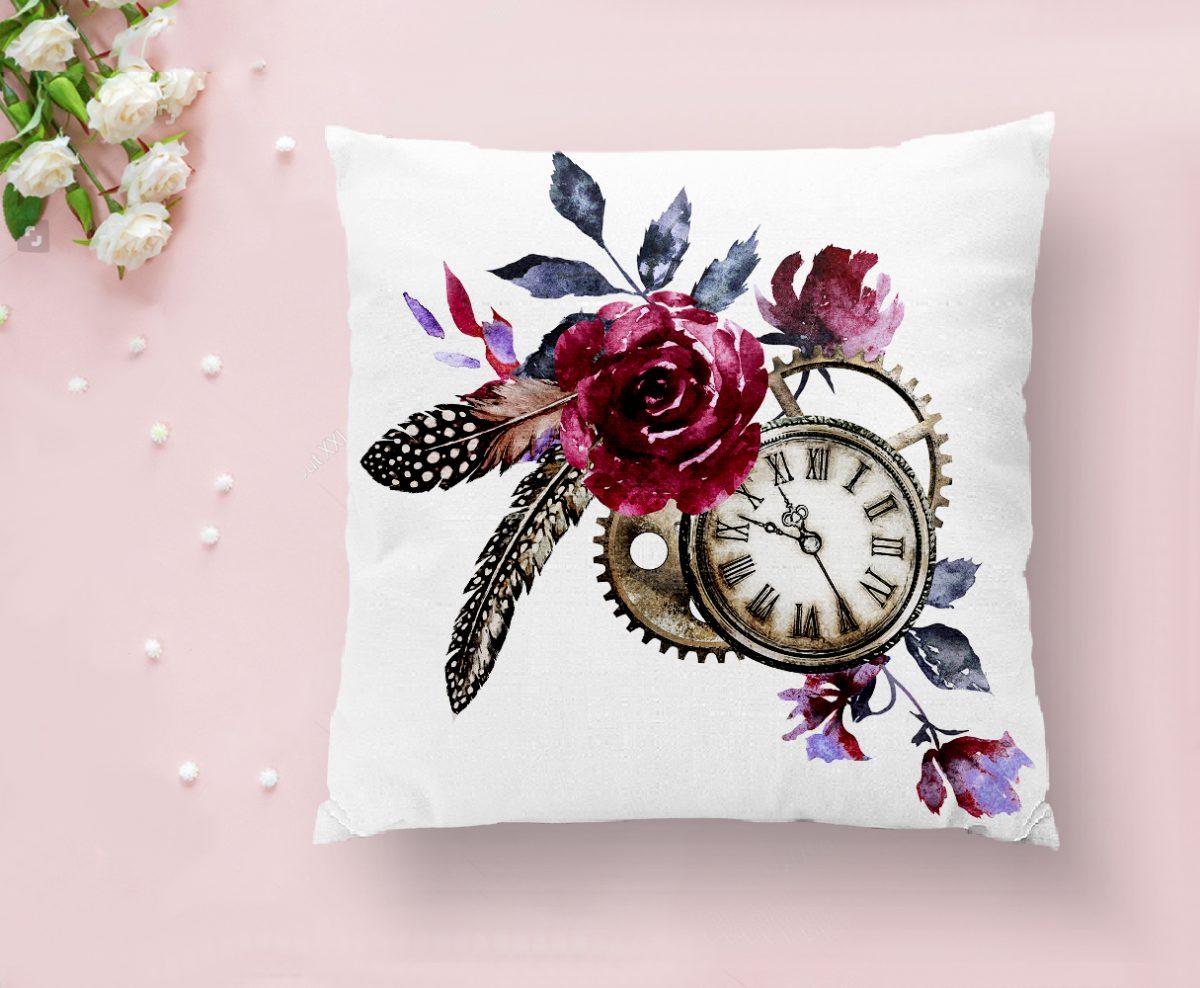 Cep Saati Motifli Kuş Tüyü Desenli Dekoratif Yastık Kırlent Kılıfı Realhomes