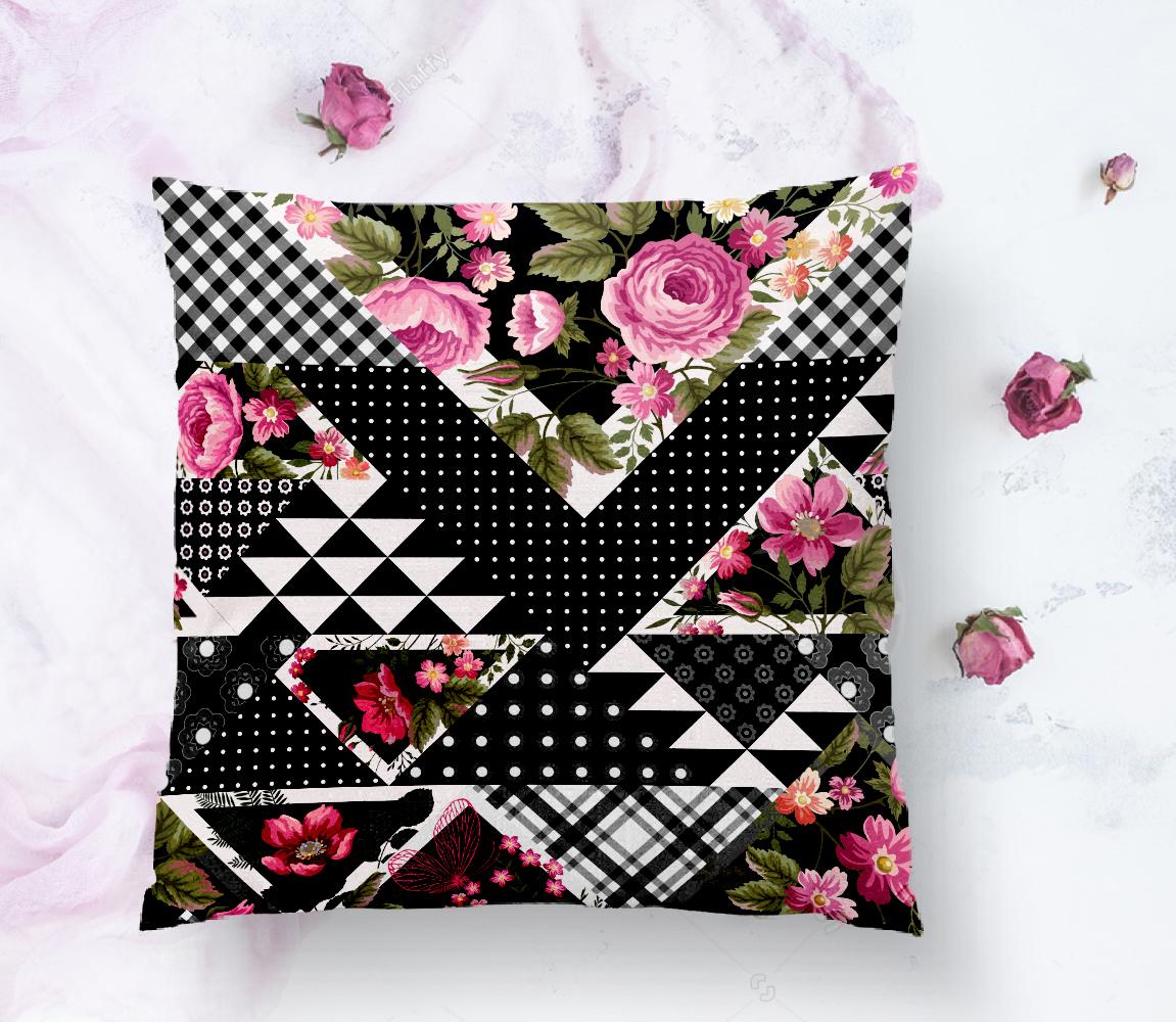 Karma Çiçek Geometrik Desenler Modern Yastık Kırlent Kılıfı Realhomes