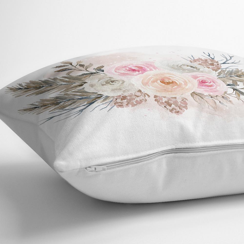 Dal ve Çiçek Motifli Dijital Baskılı Yastık Kırlent Kılıfı Realhomes