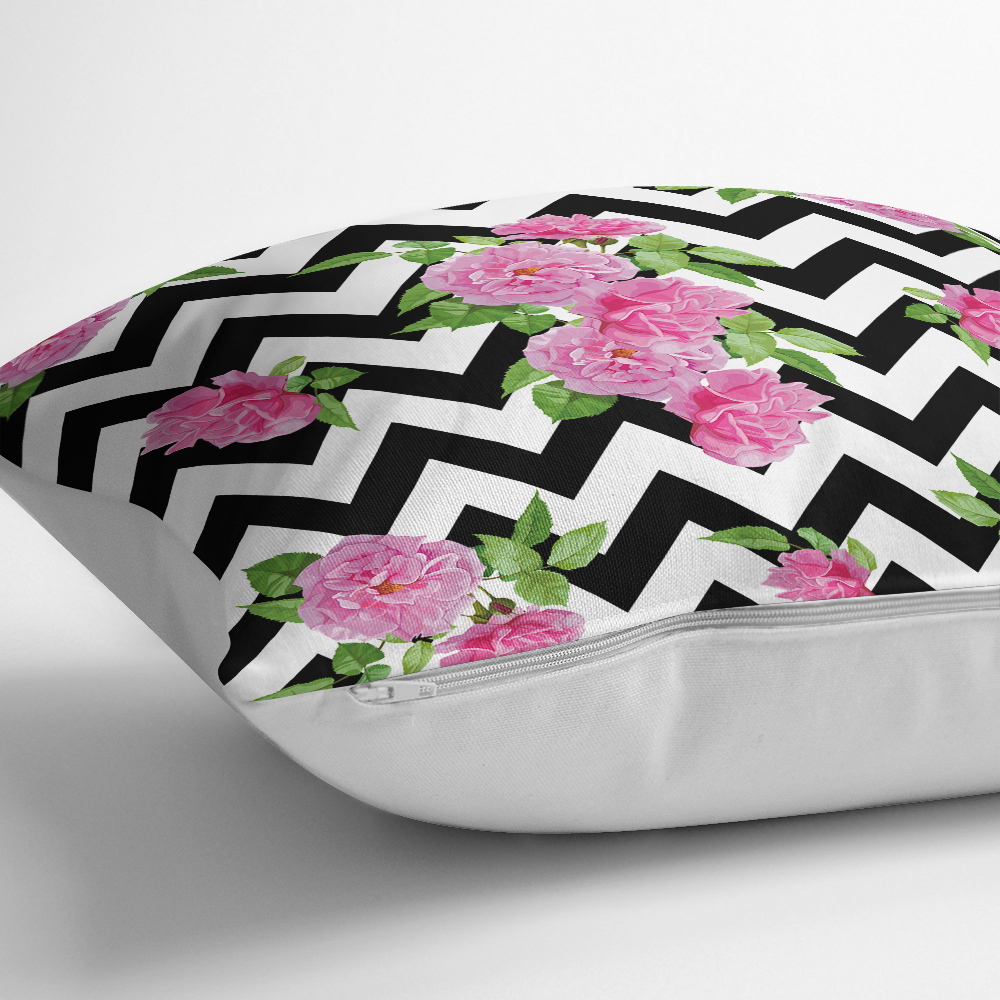 Zigzag Zebra Temalı Gül Motifli Modern Yastık Kılıfı Realhomes