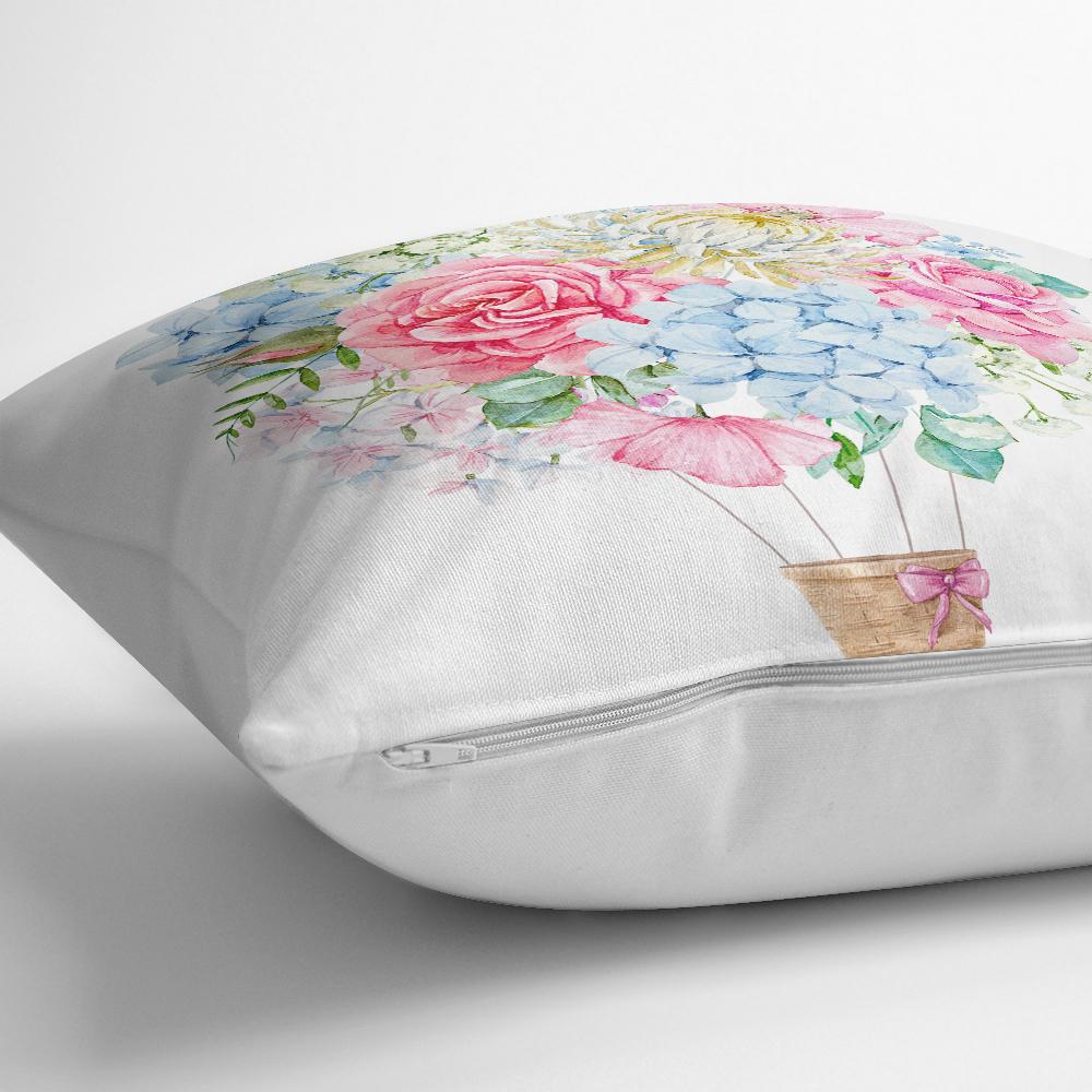 Kurdele Motifli Karma Çiçek Baskılı Dijital Baskılı Yastık Kırlent Kılıfı Realhomes