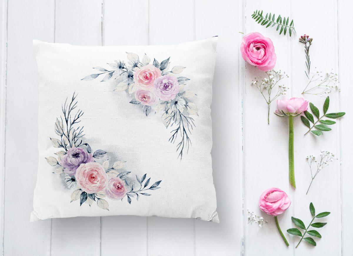 Çiçek Motifli Dijital Baskılı Dekoratif Yastık Kırlent Kılıfı Realhomes