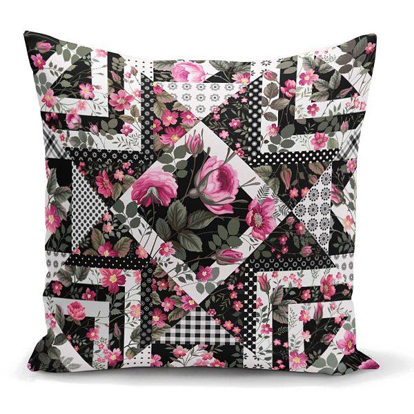 Siyah Beyaz Puanlı Çiçek Çizimli Modern Yastık Kırlent Kılıfı Realhomes