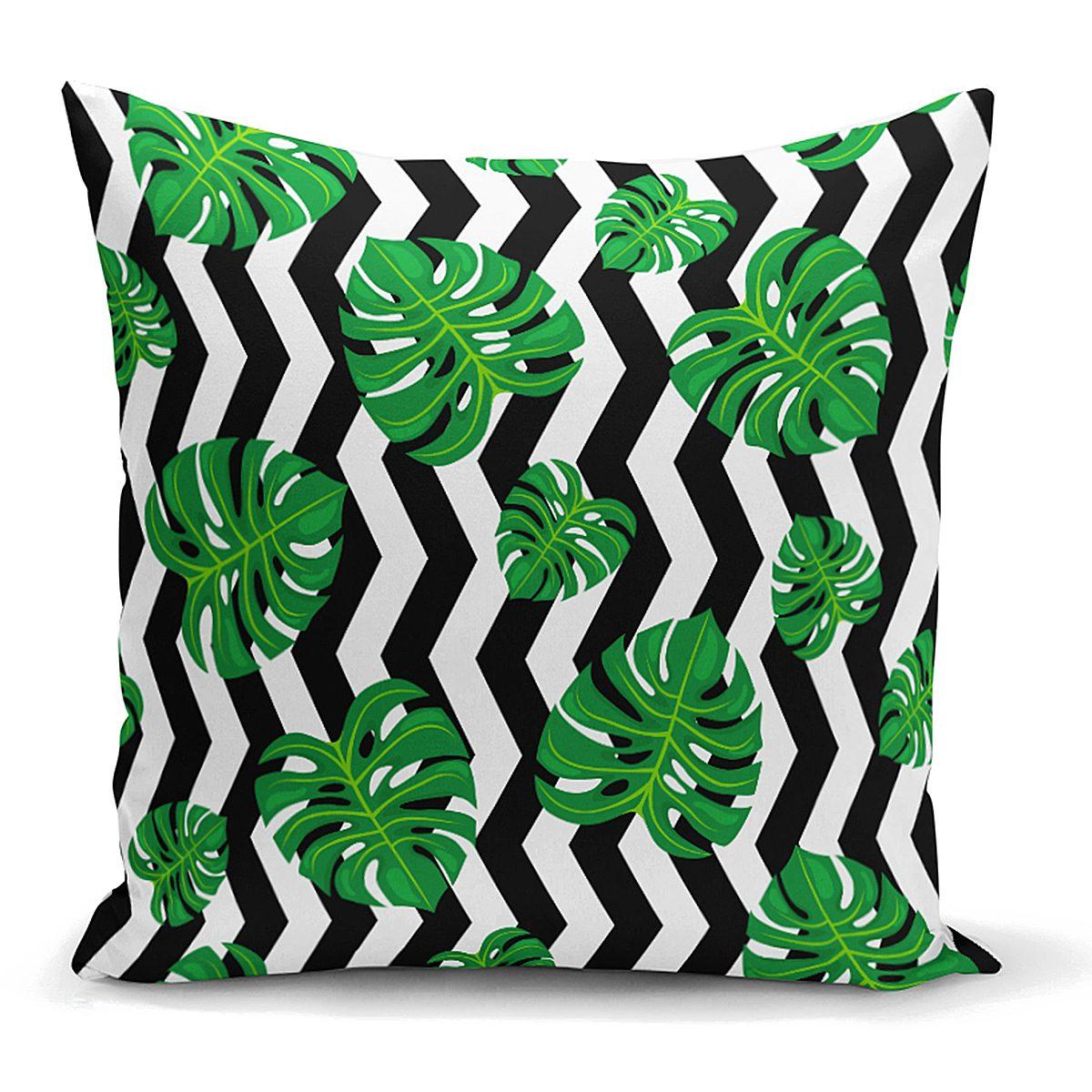 Zigzag Zebra Temalı Yaprak Çizimli Dijital Baskılı Yastık Kırlent Kılıfı Realhomes