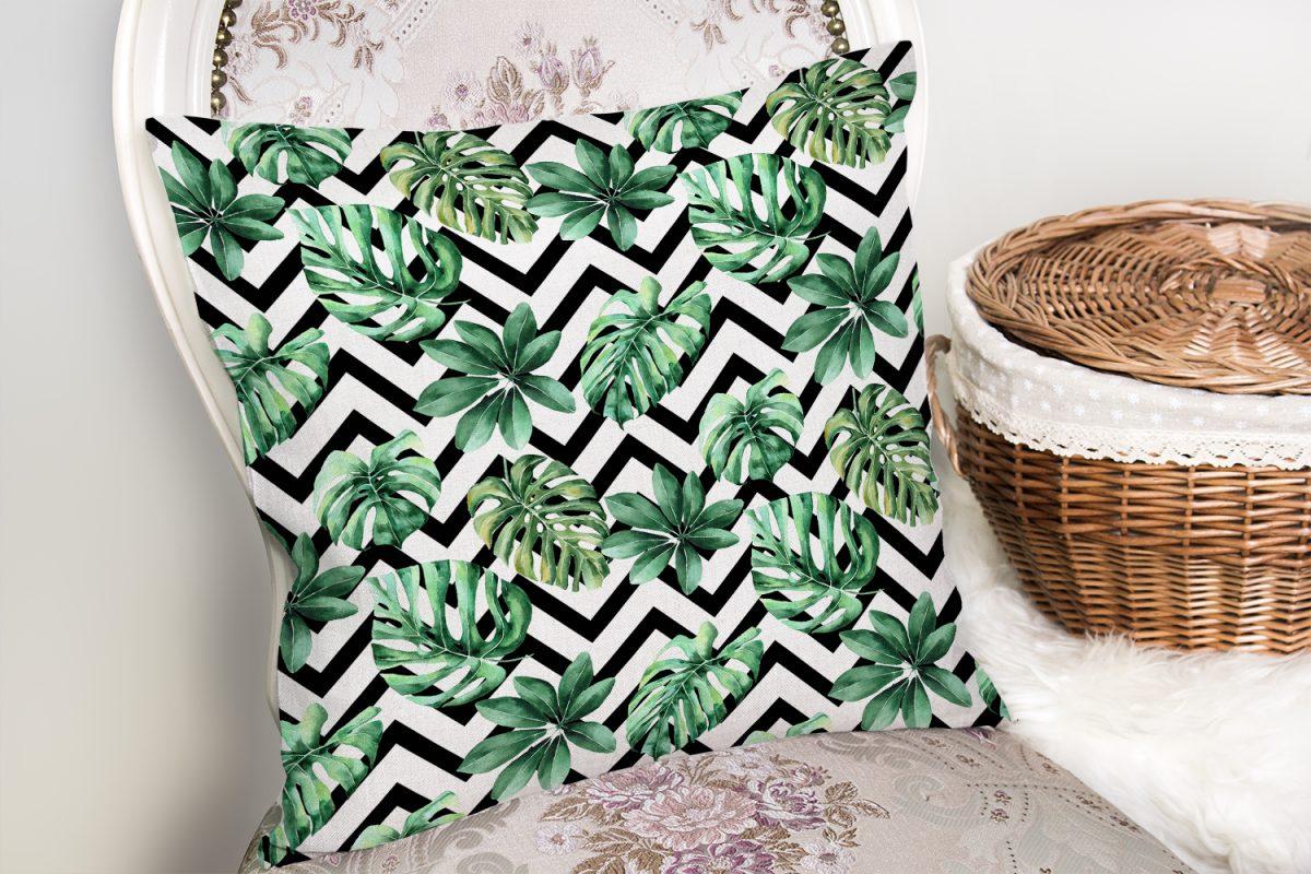 Zigzag Siyah Beyaz Şerit Temalı Yaprak Çizimi Kırlent Kılıfı Realhomes