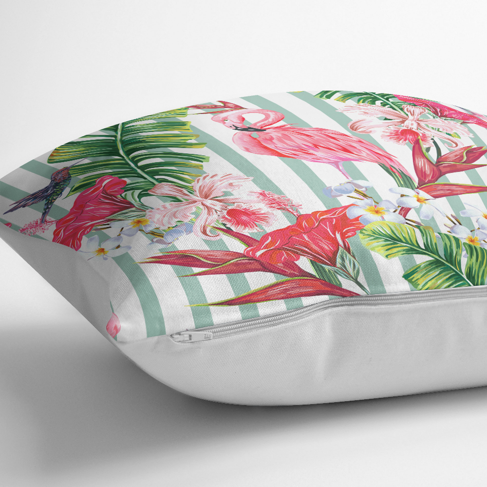 Flamingo Motifli Şerit Desenli Dekoratif Yastık Kırlent Kılıfı Realhomes