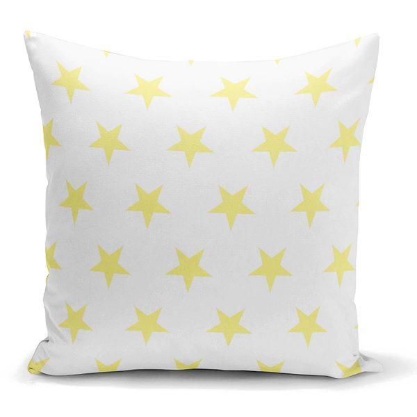 Sarı Yıldız Dekoratif Yastık Kırlent Kılıfı Realhomes