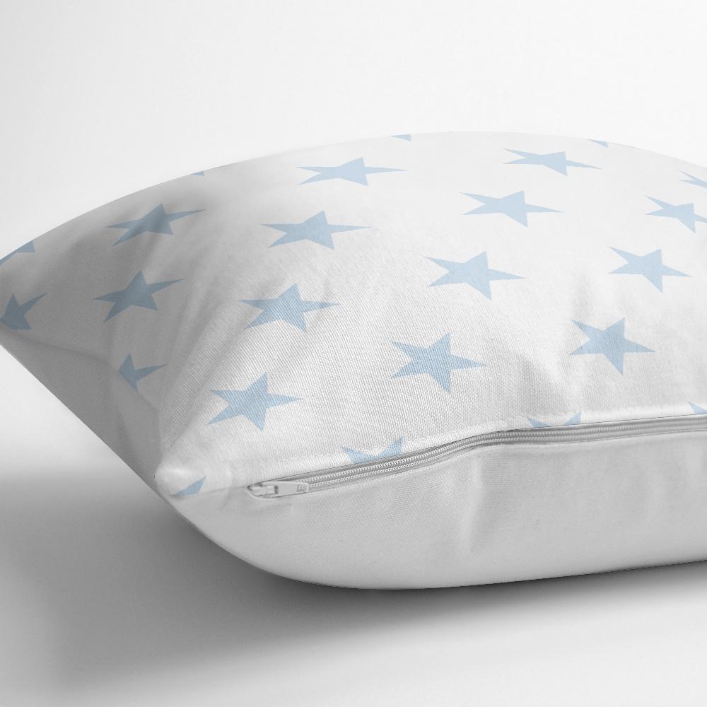Açık Mavi Yıldız Baskılı Dekoratif Yastık Kırlent Kılıfı Realhomes