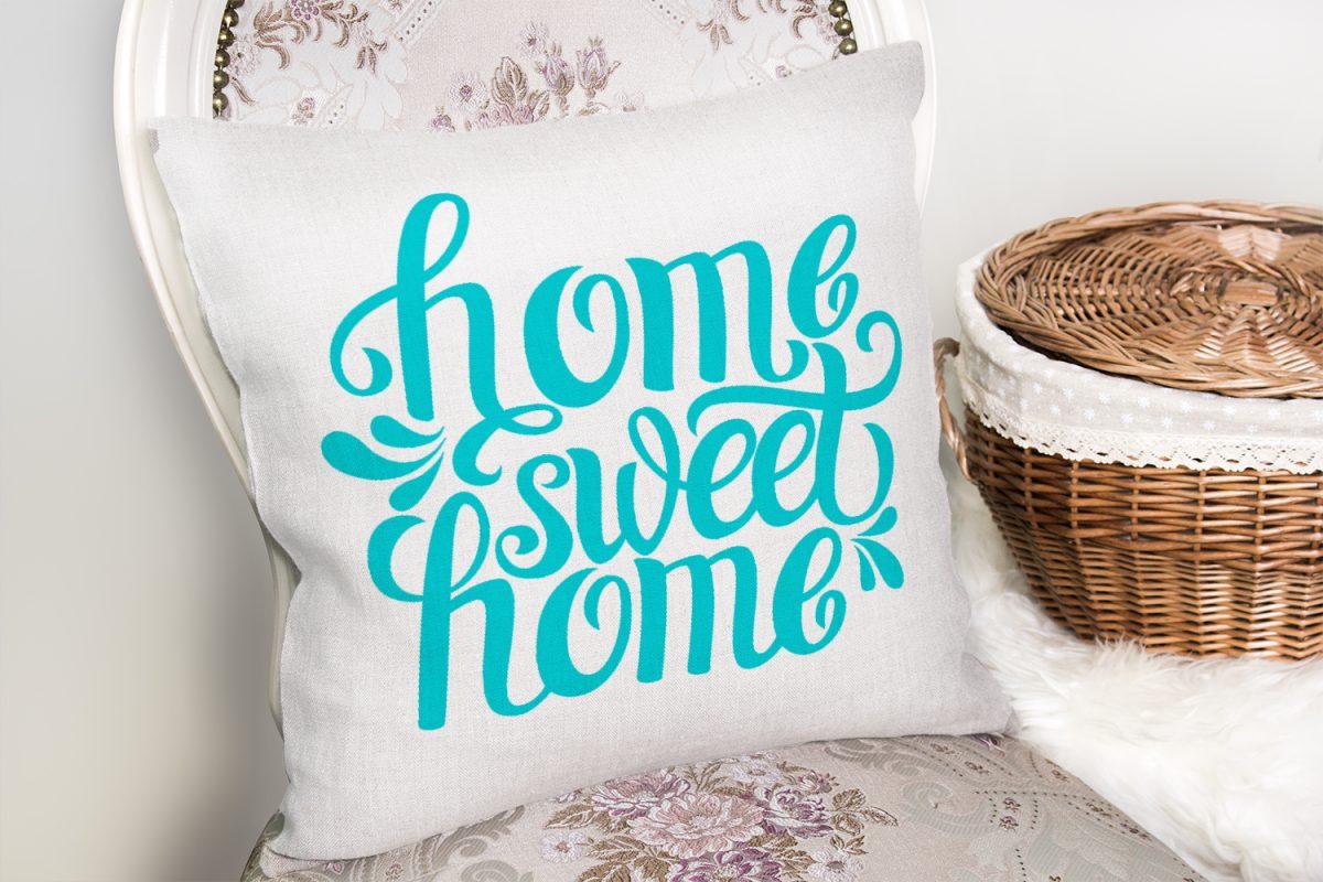 Turkuaz Home Sweet Home Dijital Baskılı Yastık Kırlent Kılıfı Realhomes