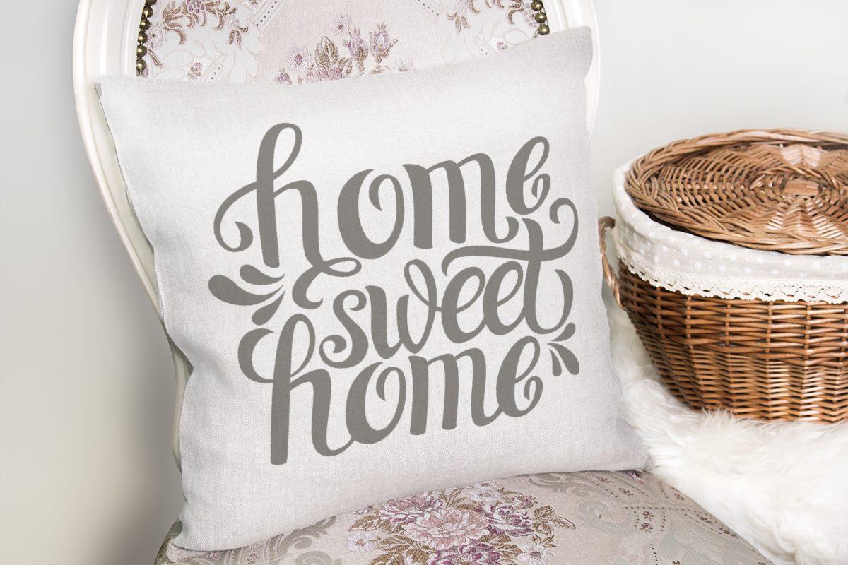 Gri Home Sweet Home Modern Baskılı Yastık Kırlent Kılıfı Realhomes