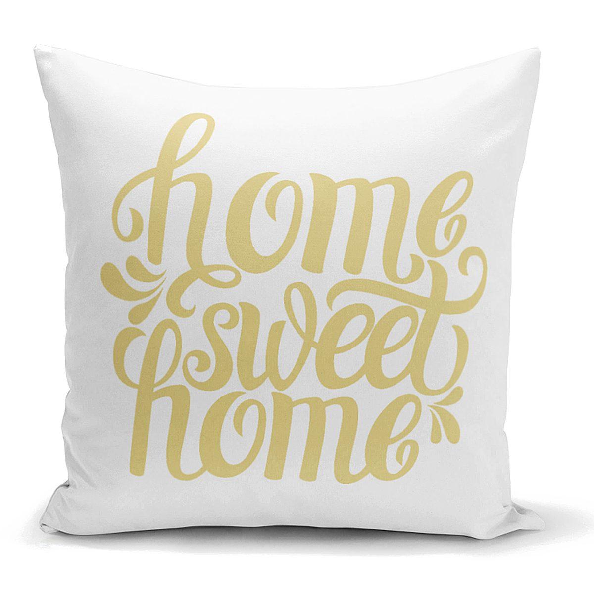 Hardal Renk Home Sweet Home Dijital Baskılı Yastık Kırlent Kılıfı Realhomes