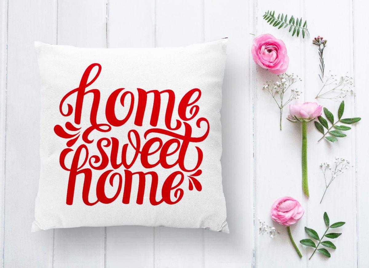 Kırmızı Home Sweet Home Dijital Modern Yastık Kırlent Kılıfı Realhomes