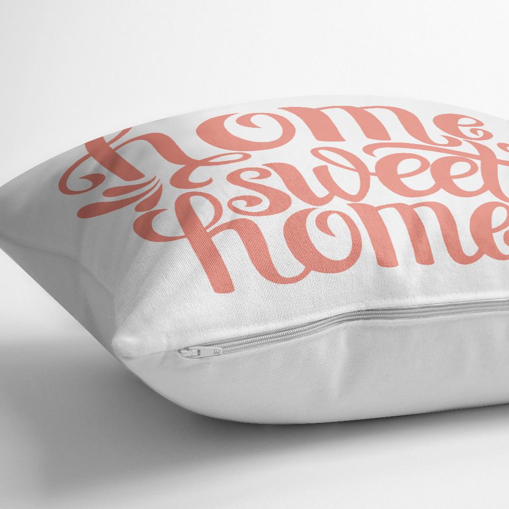 Nar Renk Home Sweet Home Dekoratif Baskılı Yastık  Kılıfı Realhomes
