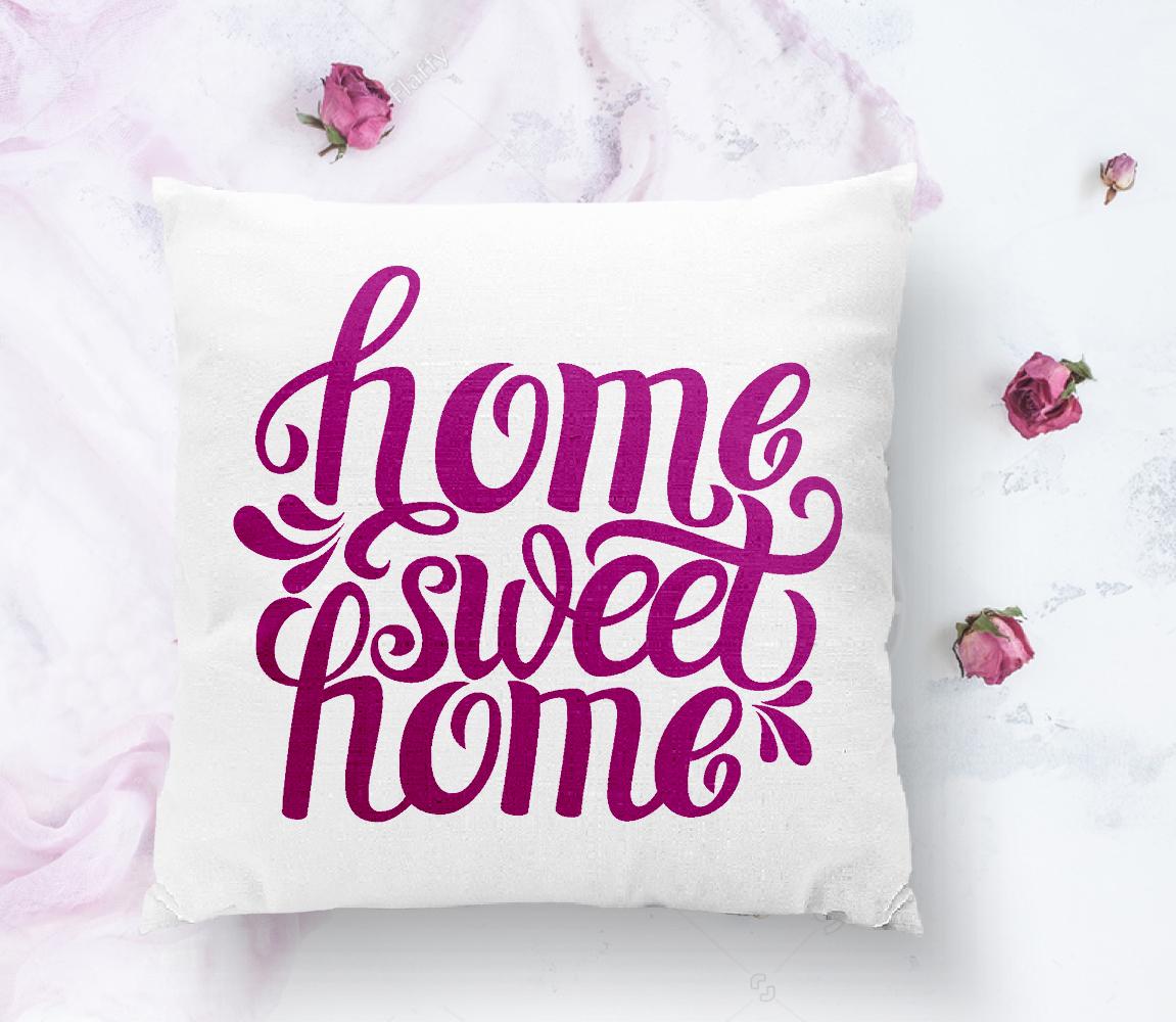 Eflatun Home Sweet Home Dijital Baskılı Yastık Kırlent Kılıfı Realhomes