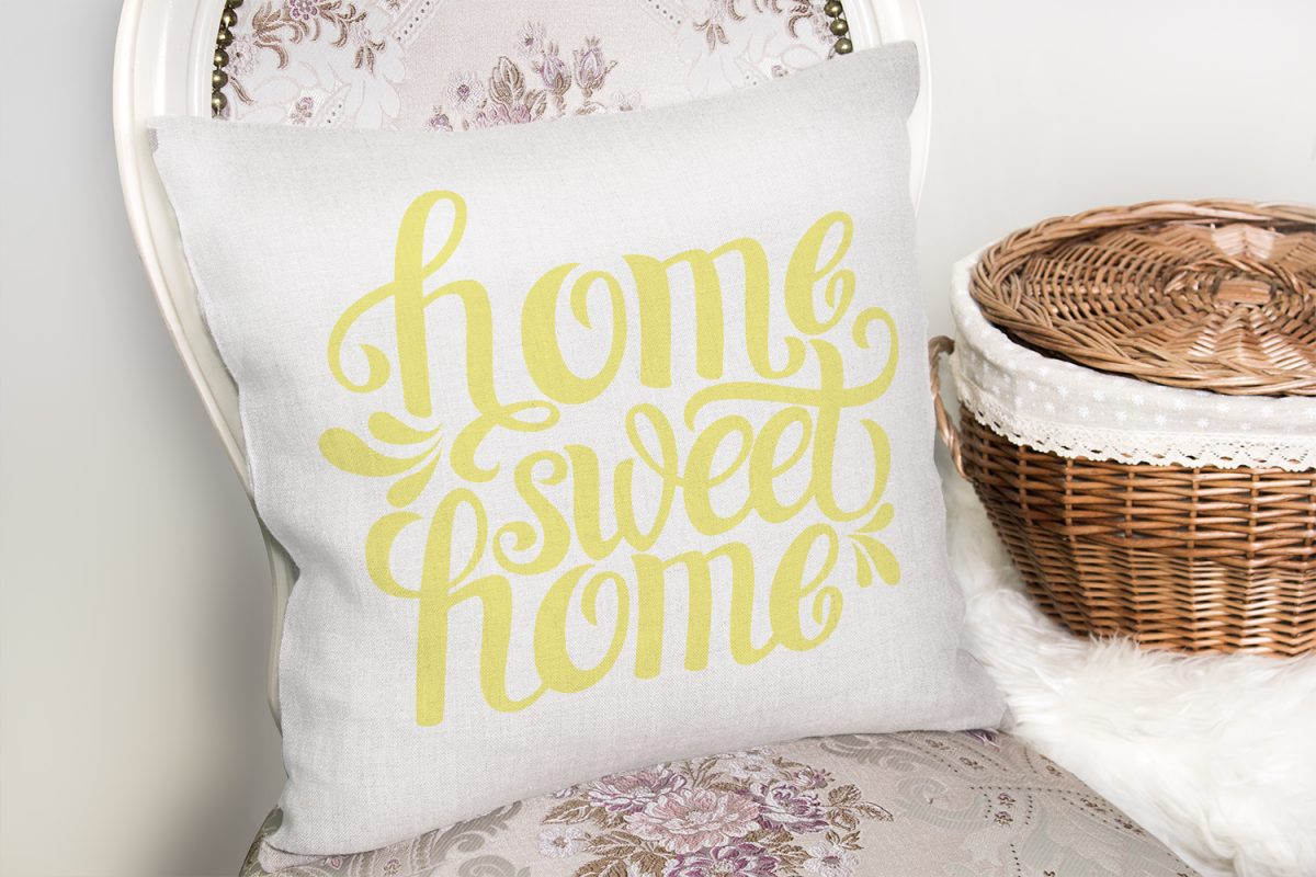 Sarı Home Sweet Home Dekoratif Yastık Kırlent Kılıfı Realhomes