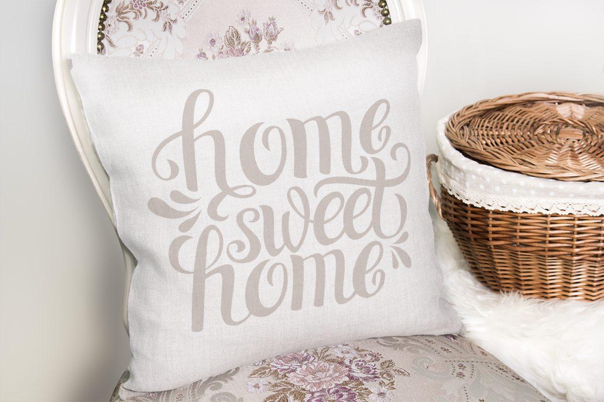 Açık Gri Home Sweet Home Dekoratif Yastık Kırlent Kılıfı Realhomes